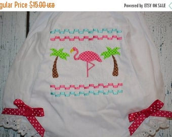 ON SALE Flamingo Bloomers Diaper Cover  with smocked look