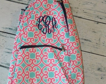 ON SALE Personalized Tennis Racket Cover Bag Coral Geometric Print