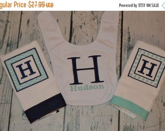 ON SALE Personalized Bib and 2 Burp Cloth set Baby Gift