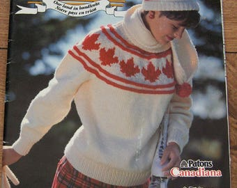 Vintage 80s Knitting patterns - O Canada Canadian theme Sweaters Jackets Hat  - Moose Loons Totems Maple Leaf Skiing Voyageur Stand on Guard