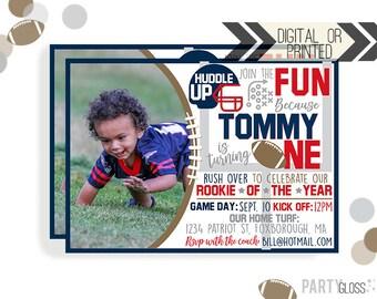 Football Birthday Invitation | Digital or Printed | Football Invitation | Rookie Year Invitation |  Rookie Invite | New England Football |