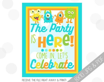 Monster Party Printables | Monster Welcome Sign | Door Sign | Little Monster Sign | Monster Party | Party Sign Monster |
