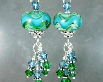 Sterling Silver Star Green & Blue Chevron Stripe Glass Dangle Earrings, Crystal Earrings, Boro Lampwork Earrings, Boho Gypsy Silver Earrings