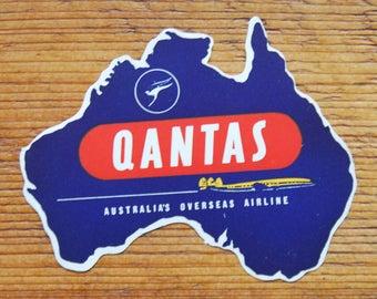 Vintage Qantas Australia's Overseas Airline Travel Decal Gummed Sticker