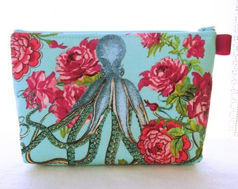 Octopus Fabric X Large Cosmetic Bag Zipper Pouch Padded Fabric Makeup Bag Zip Pouch Neptune Mermaid Neverland Tokyo Milk Turquoise Rose Pink