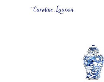 Ginger Jar Chinoiserie Stationery, Invitation or Announcement Set - Blue and White