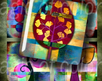 Fantasy Colourful Trees - 63  1x1 Inch Square JPG images - Digital  Collage Sheet