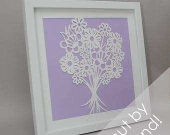 flower bouquet - modern PAPER CUTTING - handmade art, unique wall art, details, modern,choose your own color, design,modern art,white