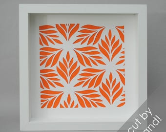 stylized LEAVES shadowbox- paper cutting, flowers, delicate, modern decor, interior design, botanical, white frame, wall art, clean, fun