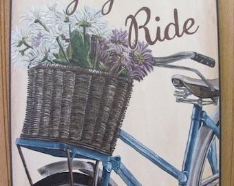 """Bike Wall Decor,Enjoy The Ride, Wooden Art Plaque,12"""" x 16"""", Biking Wall Decor,Spring Wall Decor"""