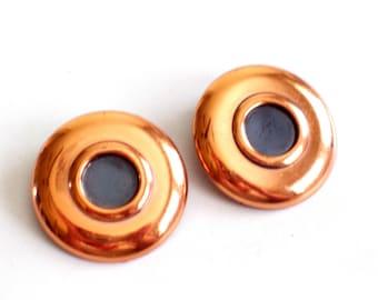 Modernist Renoir Earrings, Vintage RENOIR Copper Enamel Clip Earrings, MCM Copper, Copper Earrings, Renoir Jewelry