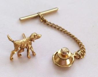 Vintage Dog Lapel Pin or Tie Tack, Gold Spaniel Tie Tack, Vintage Canine Tie Tack, Dog Scatter Pin, Vintage Dog Lapel Pin, Dog Lover Pin