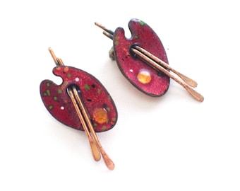 Matisse Painter Palette Earrings, Vintage MATISSE RENOIR Red Enamel Copper Artist Painter's Palette Earrings, Matisse Earrings, Art Jewelry