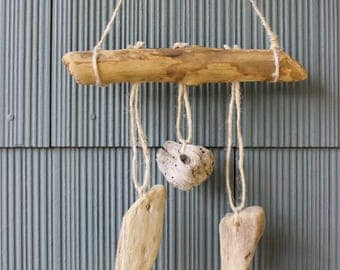 Mini Boho Beach Driftwood Wind chime , Drift Wood Wall Hanging , Mermaid Style , Coastal home Decoration