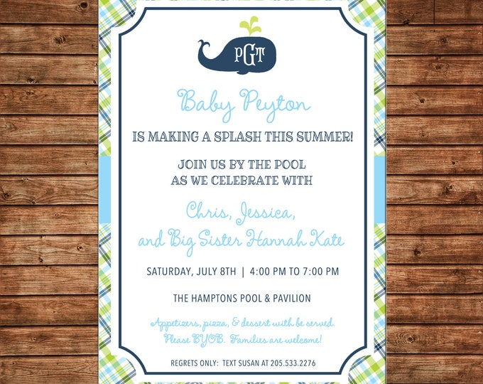 Boy Preppy Monogram Whale Plaid Gingham Nautical Baby Shower Birthday Invitation - DIGITAL FILE