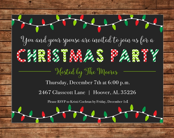 Christmas Lights Dinner Party Ornament Gift Swap Exchange Invitation  - Can personalize colors /wording - Printable File or Printed Cards