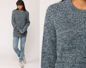 80s Sweater Knit Blue Grey FLECKED Sweater Pullover Grunge Nerd Slouch Hipster Boho Jumper Vintage Retro Large