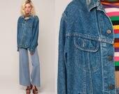 Oversized Denim Jacket 80s Jean Jacket LEE Denim Jacket Blue Stone Wash 1980s Vintage Biker Button Up Trucker Hipster Large