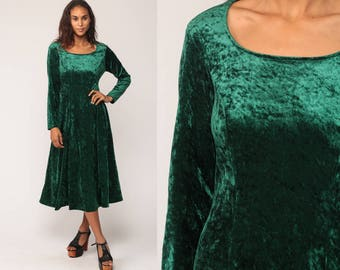 Crushed Velvet Dress 90s Midi Party Green Velvet 1990s Goth Fit and Flare Cocktail Vintage Witch Long Sleeve Medium