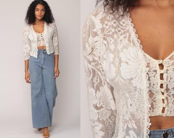 White Lace Jacket SHEER 70s Boho Jacket Bohemian Vintage 1970s Floral Festival Jacket Romantic Button Up Small