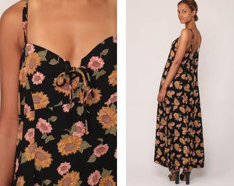 Sunflower Dress Floral Sundress Boho Hippie Print 90s Grunge Maxi Bohemian Sun Empire Waist 1990s Vintage Black Pink Extra Large xl