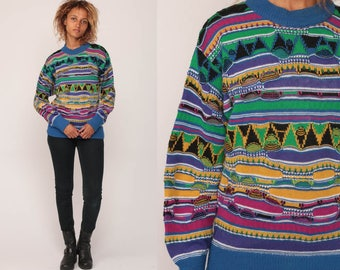 Pullover Sweater 90s Sweater Striped Bright Geometric Grunge Slouchy Statement Knit Retro Vintage Hipster Blue Green Yellow Medium