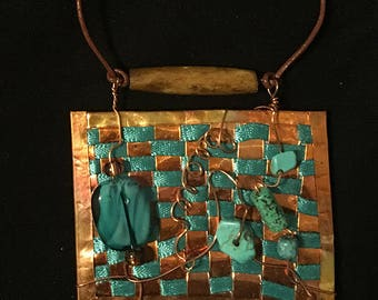 Woven Copper Necklace with Turquoise Ribbon and Beads