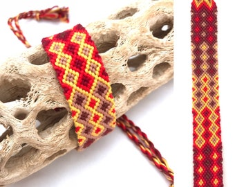 Wide friendship bracelet - red - yellow - handmade - knotted - micro macrame - woven - string - thread - embroidery floss - diamond pattern