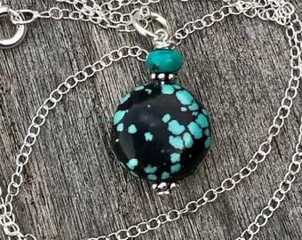 Turquoise Necklace, Turquoise Pendant, Tibetan Turquoise Gemstone Necklace, Petite Necklace, Tiny Layering Jewelry, Spiderweb Turquoise Drop