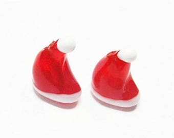 20% OFF LOOSE Lampwork Glass Beads - Cherry Red and White Santa Hats (2 beads) - gla850