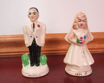 Turnabouts Salt and Pepper Shakers Bride & Groom Married Before and  After Funny Comic  Japan