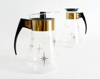 Vintage 1960s Corning Ware Glass 6 Cup Carafe - Two Styles Available / Gold Starburst Lidded Atomic Retro Serving Dining Kitchenware