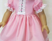 Pastel Pink (or Purple) Pin-Dot Dress and Panties for American Girl Doll