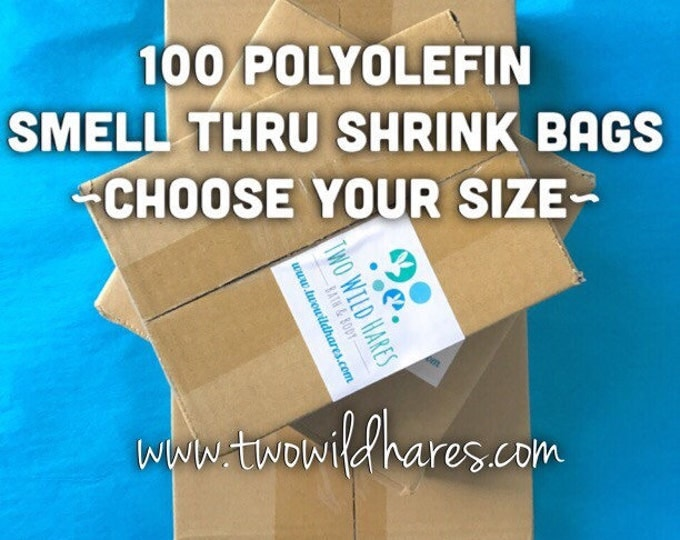 100-POLYOLEFIN Shrink Bags, (Smell Through Plastic), 75 g, BEST Wrap Available for Soap, Bath Bombs Etc, 5 Sizes