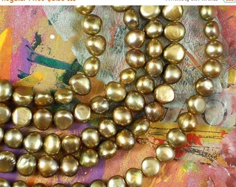 ON SALE Bronze Gold Pearls Corn Nugget Side Drilled Freshwater - Full Strand (4210)