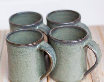 Set of 4 Ceramic Handmade Mugs -- Gray hand thrown coffee tea mug - Gray Handmade Ceramic Stoneware mugs
