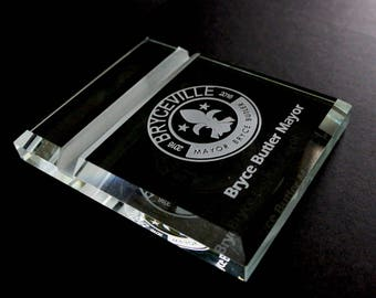 Personalized Glass Business Card Holder and Display