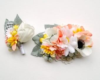 White Anemone Bridal Flower Hair Comb, White Yellow Peach Sage Weddings Comb, Tulip Groom Boutonniere, White Yellow Sage Bridal Headpiece