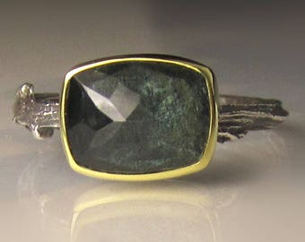 Rose Cut Dark Moss Aquamarine Twig Ring - 18k Gold and Sterling Silver