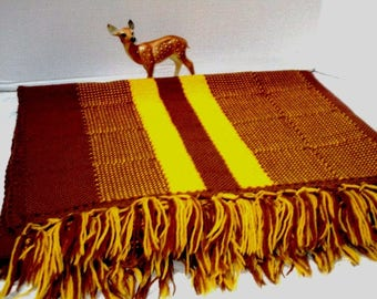 Vintage Handmade Afghan Throw, Knitted, Brown + Gold Stadium Blanket, Country Cottage, Shabby Chic, Snuggly Throw, Old Fashioned Textile