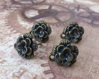 Antique Bronze Rose Earrings Studs Component Pack of 10