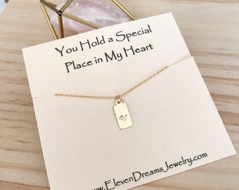 """Valentines Sale!! NEW! Handstamped Gold Heart Necklace. """"You Hold a Slecial Place in My Heart"""" message necklace. 14k goldfill Safe for sensi"""