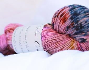 Hand dyed super wash merino nylon speckled sock 100 grams 3.6 oz