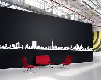 New York City Skyline Wall Vinyl Decal Landscape NY Sticker