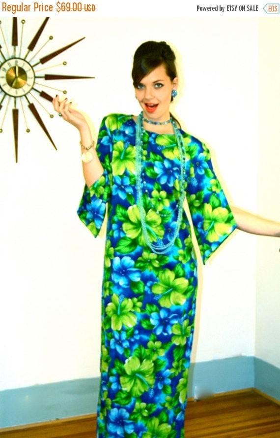 SALE 50% OFF Vintage 60s Pake Mu'u Maxi Dress POMARE Hawaii Neon Green Blue Tropical Floral Hibiscus Long Sleeve Mu Mu 1960s Mad Men Hawaiia