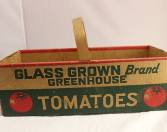 Vintage Glass Grown Brand Greenhouse Tomatoes Cardboard Crate Tote with Wooden Handle OHIO