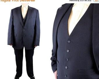 ON SALE Vintage 3 Piece Suit 42R 34x32 Blazer Vest Pants Navy Blue Pinstripe Amesbury Free Us Shipping