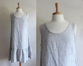 Vintage Flax Grey & White Plaid Linen Drop Waist Dress