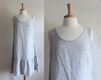 Vintage Flax Grey & White Plaid Linen Drop Waist Dress