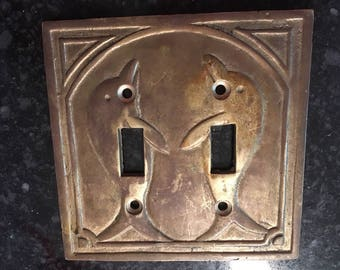Vintage Art Deco Metal Dolphin Double Light Switch Plate Cover